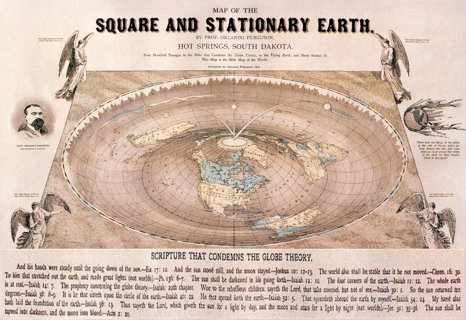 FlatEarth map with Scripture that condemns the globe theory